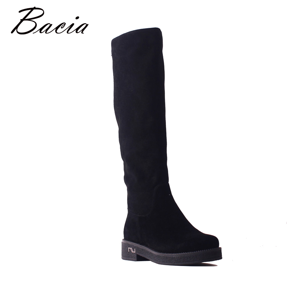 Bacia New Sheep Suede Knee High Black Boots Genuine Leather Boots Woman High Wool Fur Winter Warm Snow Boots Zipper Shoes SB102