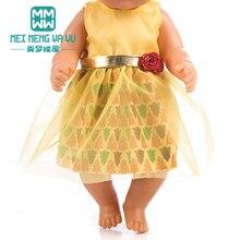 9c5e4722c4f39 Vêtements pour poupées adapte 43 cm Bébé accessoires de poupée jaune jupe  en gaze bébé princesse robe