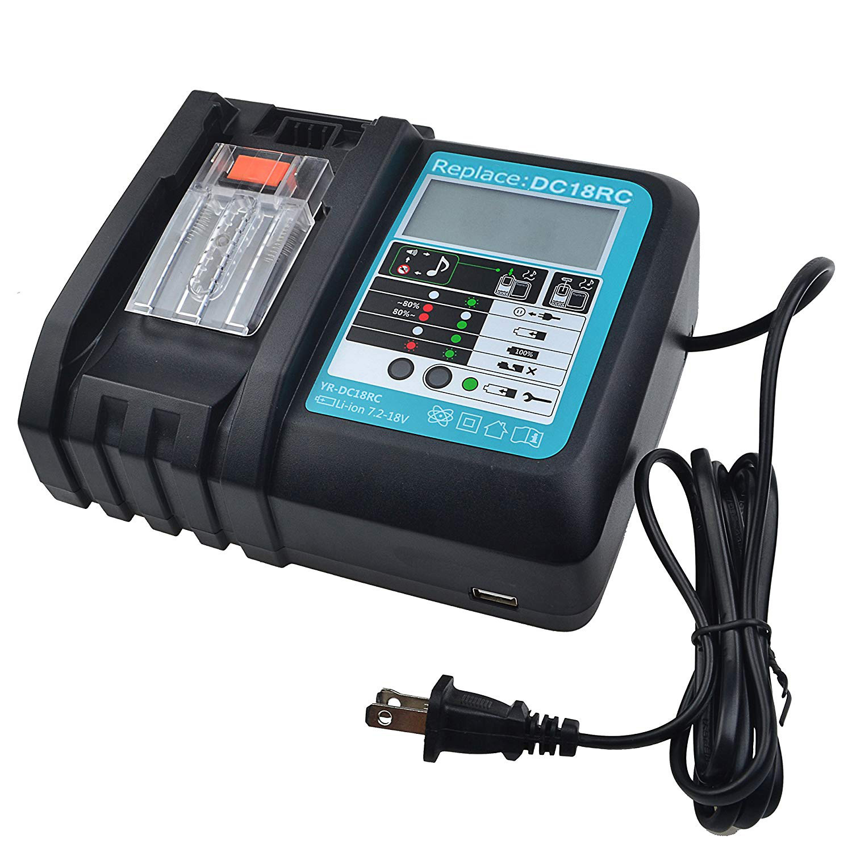 7.2V-18V DC18RC 3A Liion Battery Charger for Makita BL1830 BL1815 BL1430 DC14SA DC18SC Power Tool Li-Ion Battery with LCD Screen