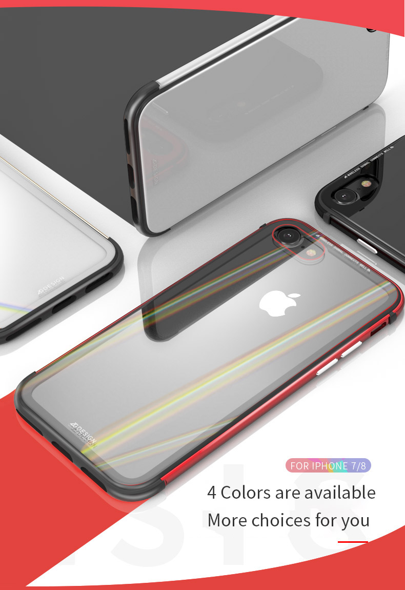 LUPHIE Aurora Laser Case For iPhone X 7 8 Plus clear glass Case (4)