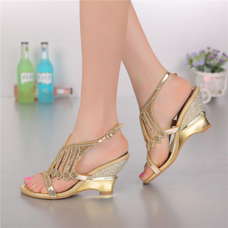 2018 Style d'été couleur or sandales à talons hauts strass chaussures de mariage taille 11 diamant boucle femmes qualités