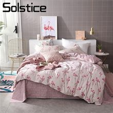 Solstice Home Textile Pink Flamingo Love Bedding Sets Girls Adult Teen Linen 3/4Pcs Duvet Quilt Cover Pillowcase Bed Sheet Queen(China)