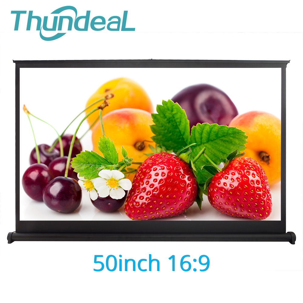 Thundeal 16:9 Projector-Screen 50inch Movie Video White Hanging 3d-Film Matte