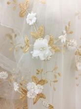 1 yd 3D Pearl Flower Lace Fabric in Gold by yard for Girl Dress,3D Applique Victoria Gown