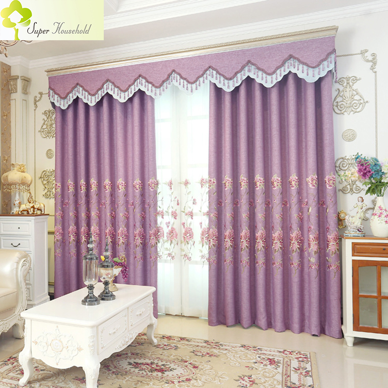 1 Pc Curtain And 1 Pc Tulle Peony Luxury Window Curtains: European Purple Curtains For Living Room Voile Tulle For