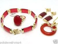Neue Schmuck Roten naturstein Drachen Anhänger Halskette Ring Armband uhr großhandel Quarz CZ kristall (A