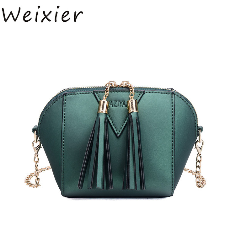 WEIXIER mini chains tassel purse women pure color party clutch coin ladies thread fashion glossy shoulder crossbody bags LY-88