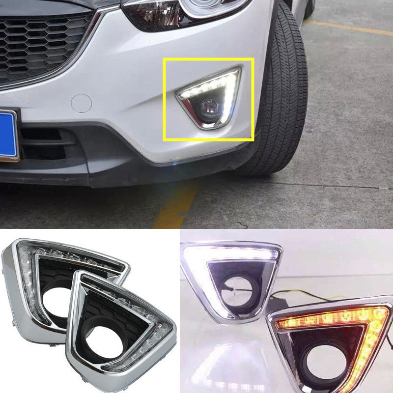ФОТО With Yellow Turning Function 12V Car White DRL LED Daytime Running Light For Mazda CX-5 CX5 CX 5 2012 2013 2014 2015 2016