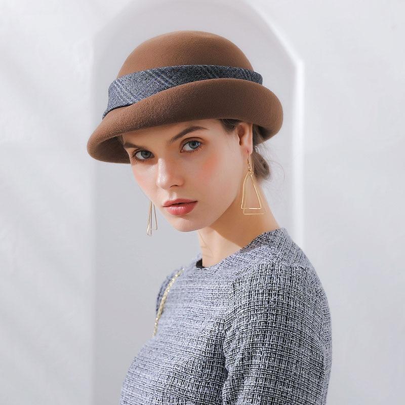 563dff89efb4e Fibonacci 2018 New Elegant Female Bow Ribbon Berets Brand Quality Wool Felt  Hat Cap Autumn Winter
