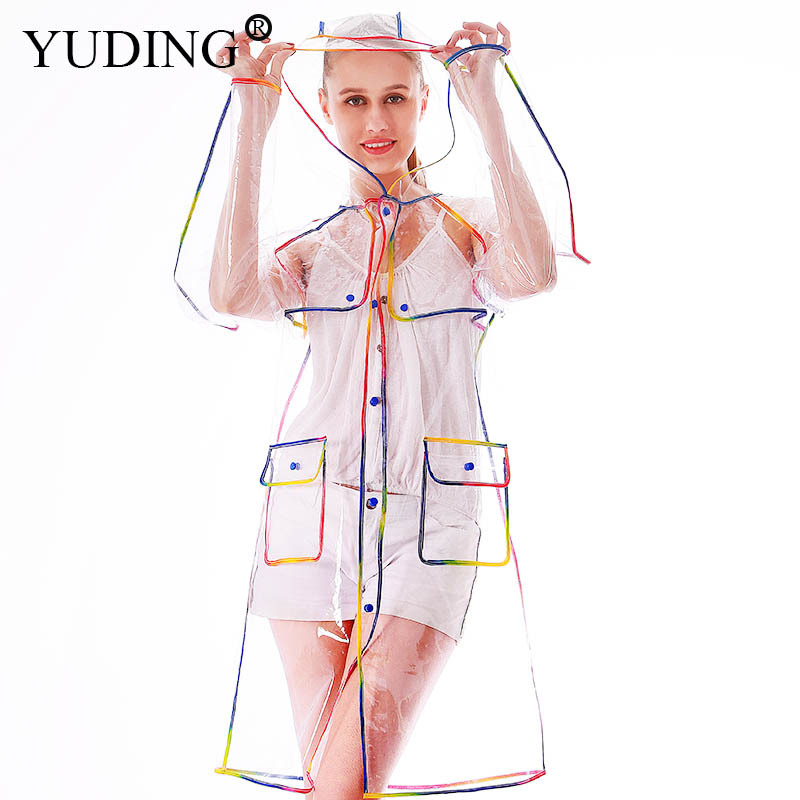 Yuding EVA Transparent Raincoat Long Clear Rainwear Hooded Outdoor Touring Rain Coat
