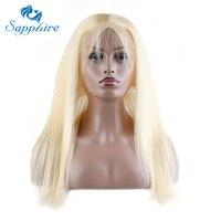 Сапфир Прямо перуанский Волосы Remy 360 Кружево фасады с ребенком волос 613 # блондинка Парикмахерская высокий коэффициент перуанской Реми Чело
