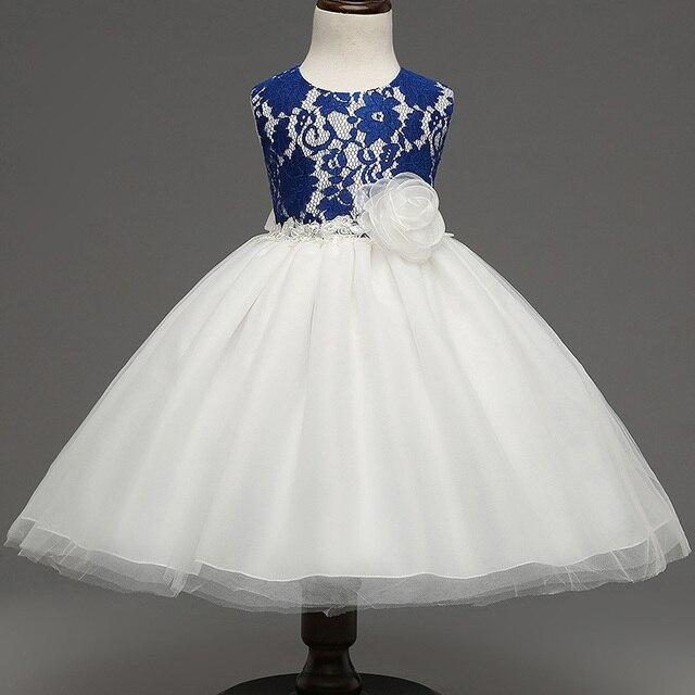 2016 новый Полный платье Девушки рукавов Принцесса Платье Лето девочка лук Кружева Платья