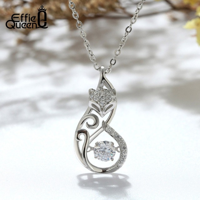 Effie Queen Crystal Women S925 Sterling Silver Necklaces Cute Fox Pendant Necklace for Women Lady Girl Jewelry Best Gift BN53 1