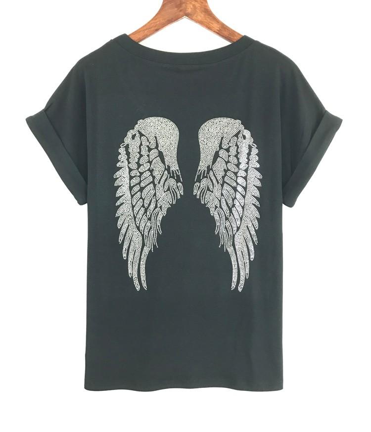 HTB1kd9zOpXXXXcqXFXXq6xXFXXXx - Punk Rock T shirt Women Wing Sequins Sequined T-shirt