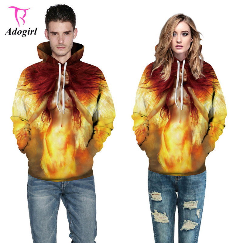 Adogirl 2017 Fashion Autumn Women Men Unisex Sweatshirts Flame Beauty 3D Print Hooded Hoodies Loose Casual Tracksuits Pullovers
