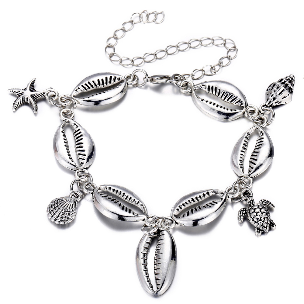 Summer Beach Metal Shell Starfish Foot Chain Anklets for Women Fashion Pendant Adjustable Ankle Bracelets on Leg Jewelry in Anklets from Jewelry Accessories