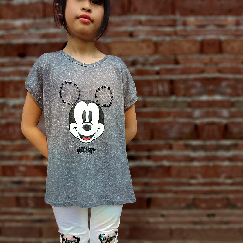 Girls T-shirt Mickey Mouse Short-Sleeved T-shirt Tops Printing Children's Cartoon Cute Kids Girl Child's Clothes 4-12Y