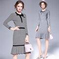 Mulheres primavera do outono elegante pacote hip dress magro knited camisola assentamento veste listrada falbala roupas para as mulheres 6235