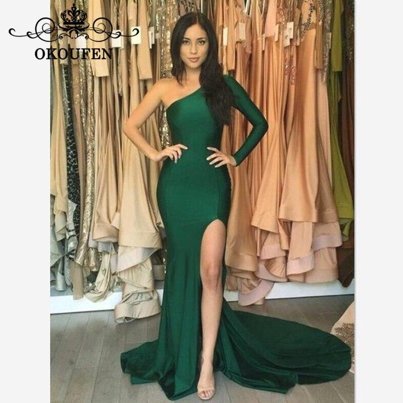 Dark Green Mermaid Long Sleeves   Prom     Dresses   For Women 2019 Under 100 Cheap One Shoulder Side Split Formal Evening   Dress   Party