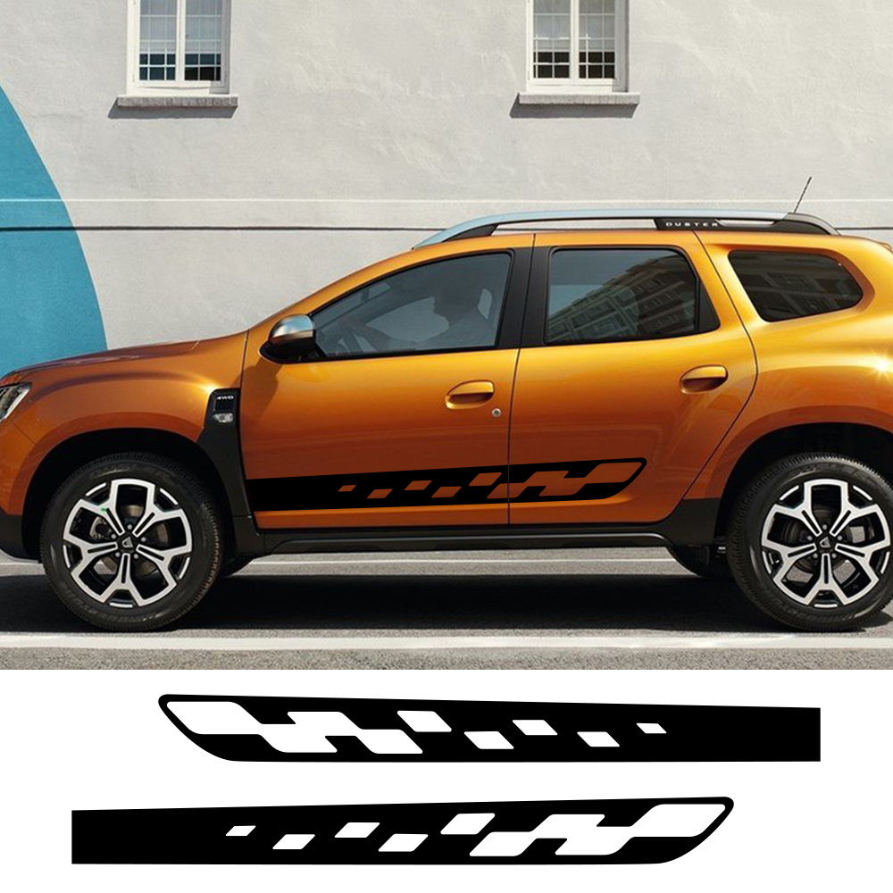 2pcs Car Styling Side Stripes Sticker DIY Auto Vinyl Film Sport Graphics Decals For Renault Dacia Duster Tuning Car Accessories
