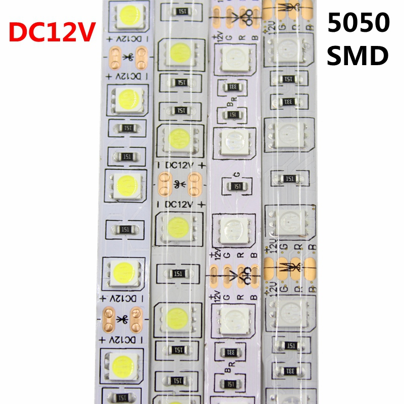 DC12V LED Strip 5050SMD 60LEDs/M DIY Flexible LED Light Waterproof RGB 5050 LED Tape For TV Background Lighting Decoration 20m waterproof rgb 5050 smd 60 leds m led tape lighting flexible tape rope strip light xmas party garden outdoor decor 220v