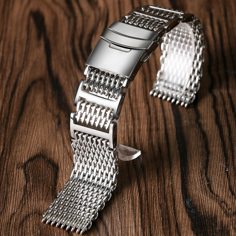 Replacement 22mm Bracelet Shark Mesh Solid Link Stainless Steel Strap HQ Silver Men Folding Clasp with Safety Watch Band 22mm silver replacement folding clasp with safety shark mesh men watch band strap stainless steel 2 spring bars high quality