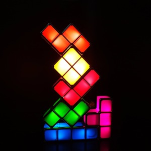Image 3 - DIY Tetris Puzzle Light Stackable LED Desk Lamp Constructible Block Night Light Retro Game Tower Baby Colorful Brick Toy