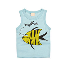 2017 summer new arrival cartoon character children boy/girl vest,100% cotton casual kids camisoles Tanks  Camisoles for 2-9T
