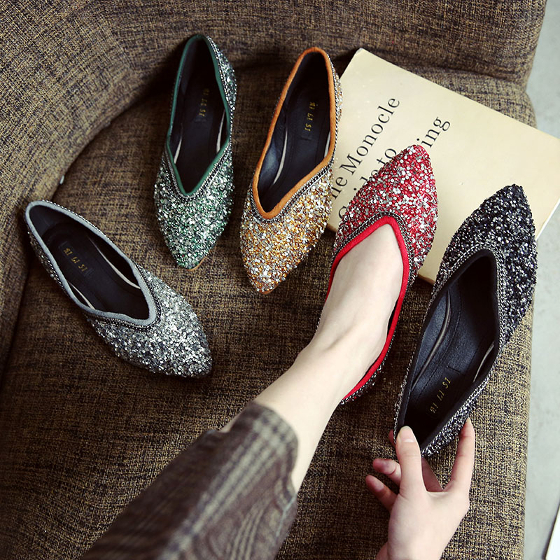 Big size New summer fashion women bling shoes casual flats Pointed Toe