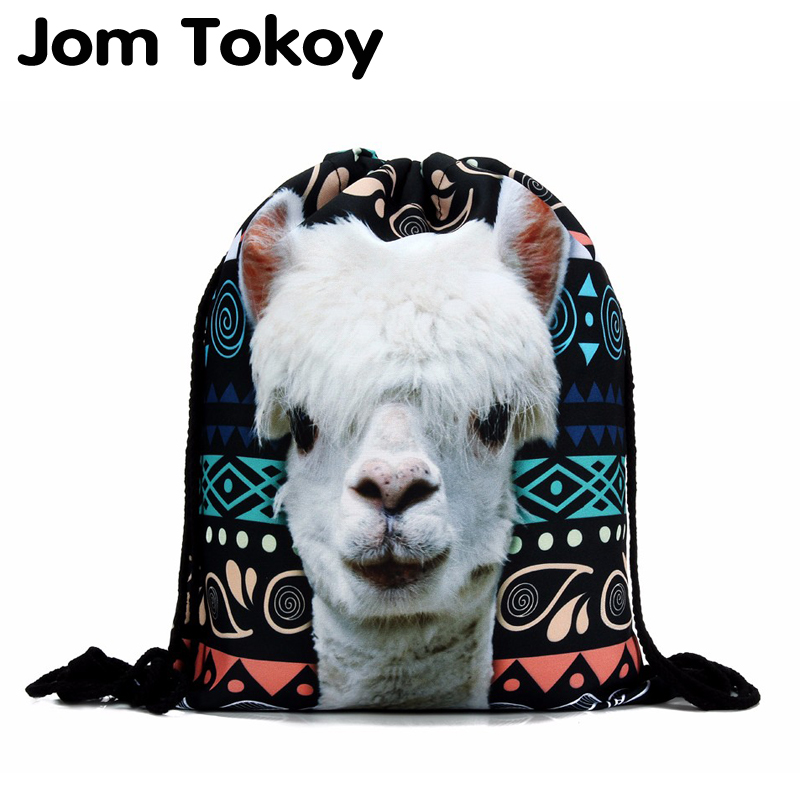 New Fashion Women Backpack 3D Printing Travel Softback Women Llama Aztec Drawstring Bag Mens Backpacks Girls Backpack