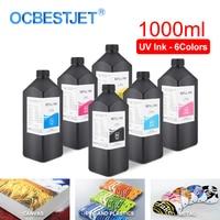 1000ML 6Color/Set LED UV Ink For DX4 DX5 DX6 DX7 Printhead For Epson 1390 R1800 R1900 4880 7880 9880 UV Printer (BK C M Y LC LM)