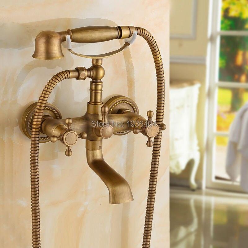 Luxury European Style Telephone Set Shower Faucet Antique Brass Classic Handshower Elegant Shower Mixer Taps SF1010