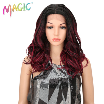 MAGIC Synthetic Lace Front Wigs 18 Long Gray Ombre Loose Wave Wigs For Black Women Lace Front Artificial Wig Cosplay Heavy Hair qd tizer 180% density black loose hair synthetic lace wigs long loose curly synthetic lace front wigs for black women
