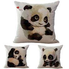 2018 Creative Cushion Panda printed Cushion Cotton Linen fashon Romantic Sofa Car Bedroom Chair Panda for Home Decoration