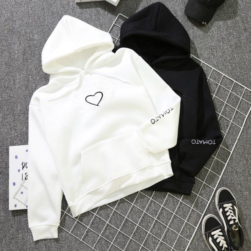 2018 Fashion Autumn Winter Fleece Heart Printed Harajuku Print Pullover Loose Lover Hoodies Sweatshirts Couple Casual Coat
