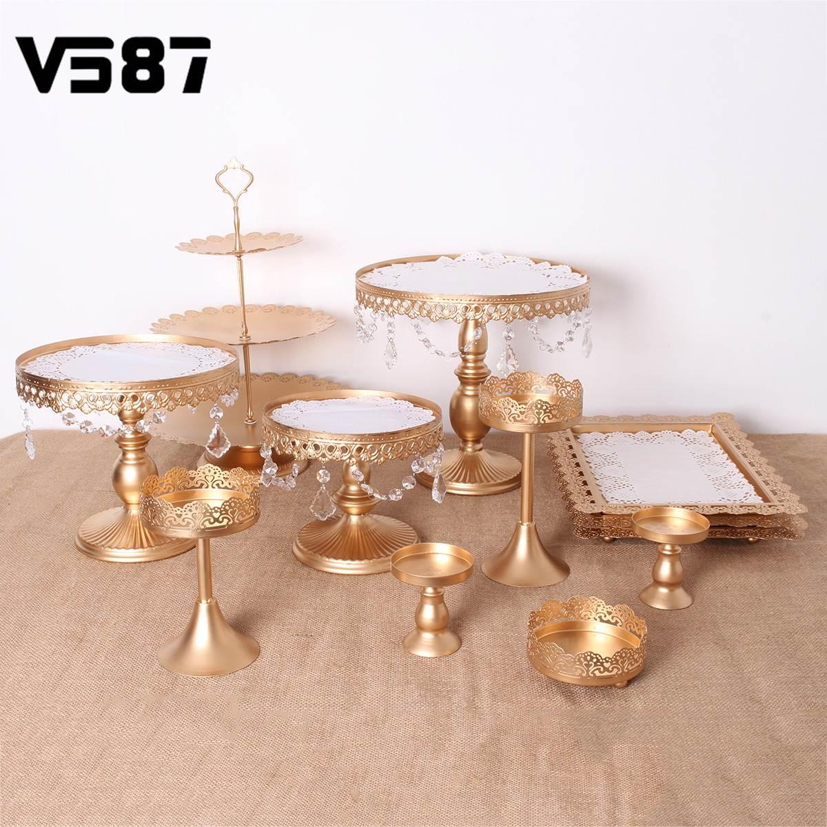 Or blanc 12 pièces cristal métal gâteau Stand Set titulaire Cupcake Stand plateau anniversaire mariage fête Dessert affichage décoration cadeaux