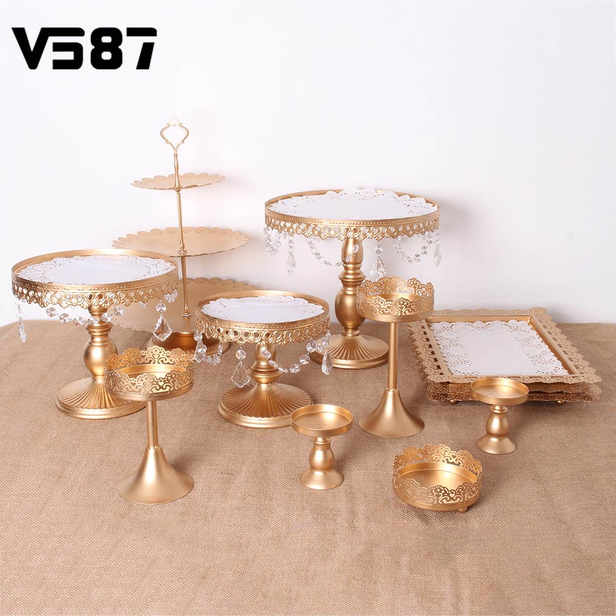 White Gold 12PCS Crystal Metal Cake Stand Set Holder Cupcake Stand Tray Birthday Wedding Party Dessert Display Decoration GiftsWhite Gold 12PCS Crystal Metal Cake Stand Set Holder Cupcake Stand Tray Birthday Wedding Party Dessert Display Decoration Gifts