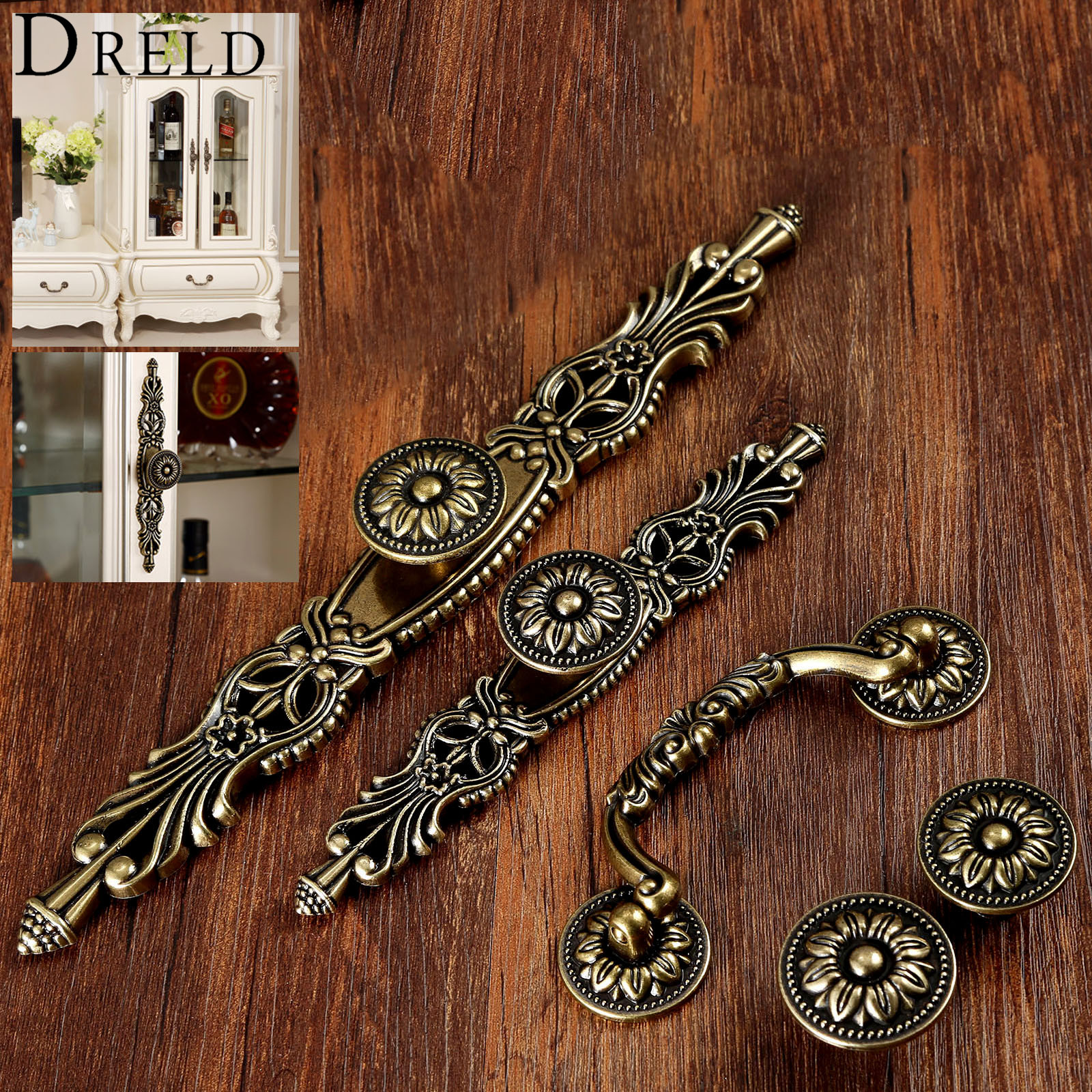 DRELD Antique Furniture Handle Vintage Cabinet Knobs and Handles Wardrobe Cupboard Drawer Kitchen Pull Knob Furniture Hareware 1pc furniture handles wardrobe door pull drawer handle kitchen cupboard handle cabinet knobs and handles decorative dolphin knob