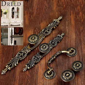 DRELD Antique Furniture Handle Vintage Cabinet Knobs and Handles Wardrobe Cupboard Drawer Kitchen Pull Knob Furniture Hareware 10pcs lot solid european classic bronze handle knob pull kitchen furniture wardrobe cabinet