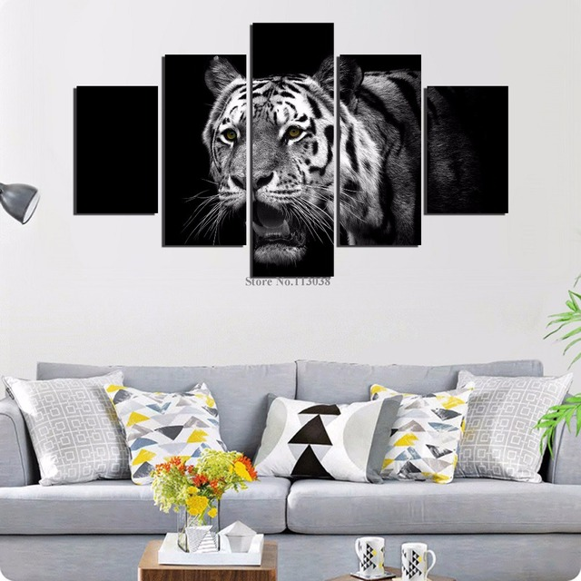 5 Pieces Big Tiger Printed Canvas Painting Living Room Wall Art