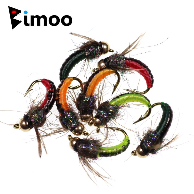 Bimoo 8PCS #12 Brass Bead Head Fast Siking Nymph Scud Fly Bug Worm For Trout Fishing Nymphing Artificial Insect Bait Lure Green