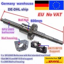DE free VAT RM/SFU2005 шариковый винт комплект L 600 мм/L 800 мм конец механической обработки с гайкой& BK/BF15 поддержка и гайка Корпус для ЧПУ