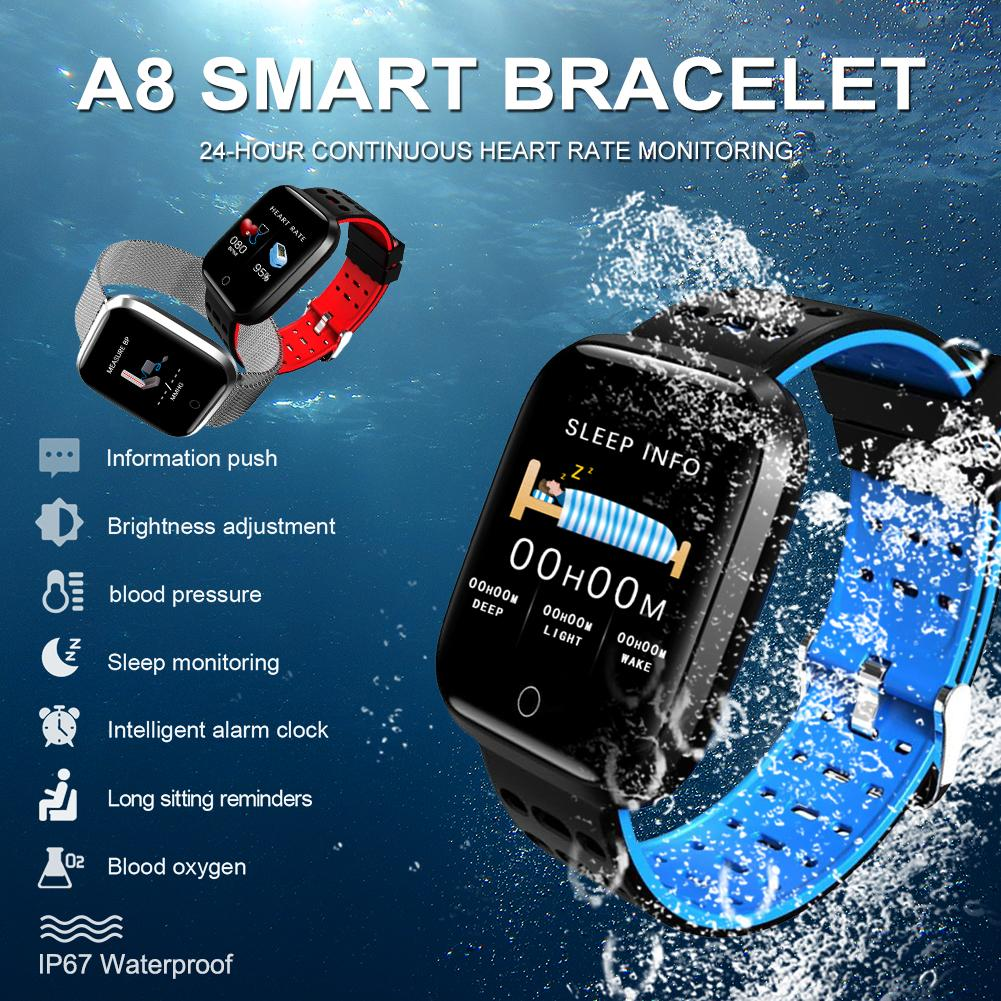 Smart Bracelet Fitness Tracker Heart Rate Blood Pressure Monitoring Color Screen Pedometer Multi Sports Mode A8 Smart Wristband in Smart Watches from Consumer Electronics