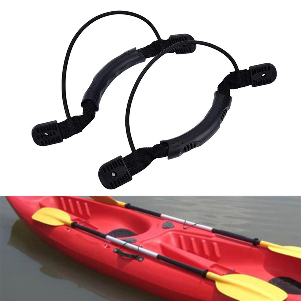 2PCS Black Kayak Canoe Boat Side Mount Carry Handle Paddle  Bungee Accessories