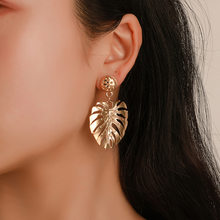 Exaggerated Bohemia Colorful Metal Hollow Double Leaves Coconut Palm Leaf Big Beach Earrings For Women Girl Large Earrings(China)