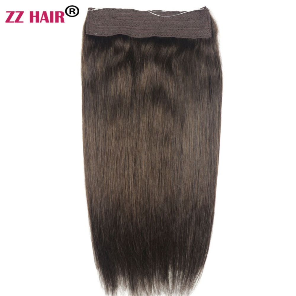 "ZZHAIR 80g-200g 16""-26"" Machine Made Remy Hair Halo Hair Flip in Human Hair Extensions One piece Set Non-clip Fish Line Hair(China)"