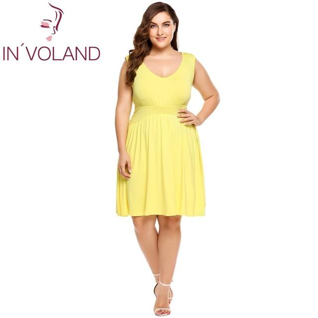 IN VOLAND Women Dress Plus Size Summer Sleeveless Casual Party Tank Swing  Dresses Pleated Brand Feminino Vestidos Oversized 4XL 4b0e1da7b990