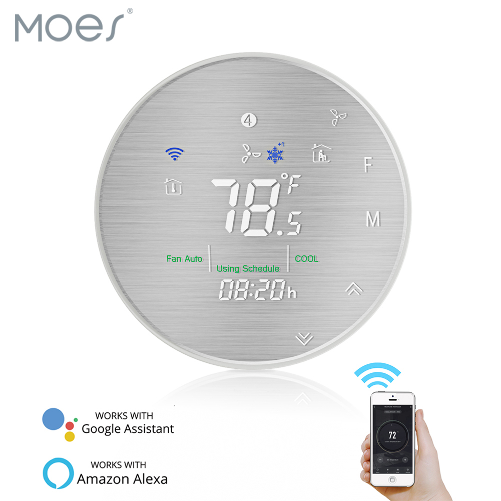 Moes Smart WiFi Programmable Thermostat ,Metal Brushed Panel,Smart Life/Tuya APP Remote Control,Works With Alexa Google Home