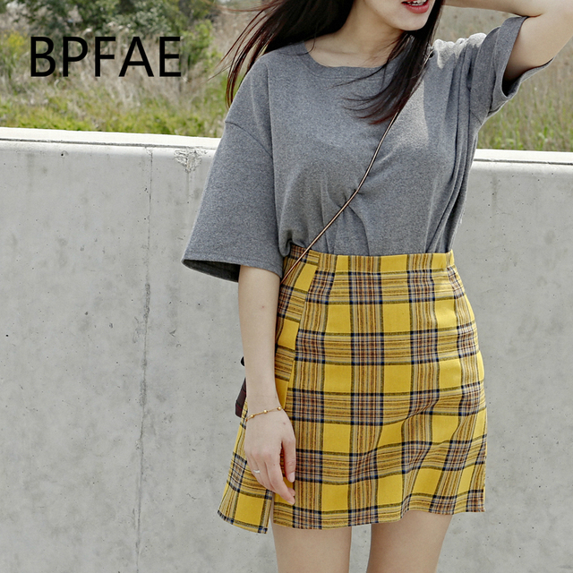 f7d8d15a579 BPFAE 2018 New Women England Style Front Slit Yellow Plaid Mini Skirt  Shorts Plus Size High Waist Casual Slim Plaided Skirts 5XL