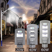 20W/40W LED Solar Powered Outdoor Wall Street Light PIR Motion Sensor Lamp Waterproof Garden Road Pathway Lamp Outdoor